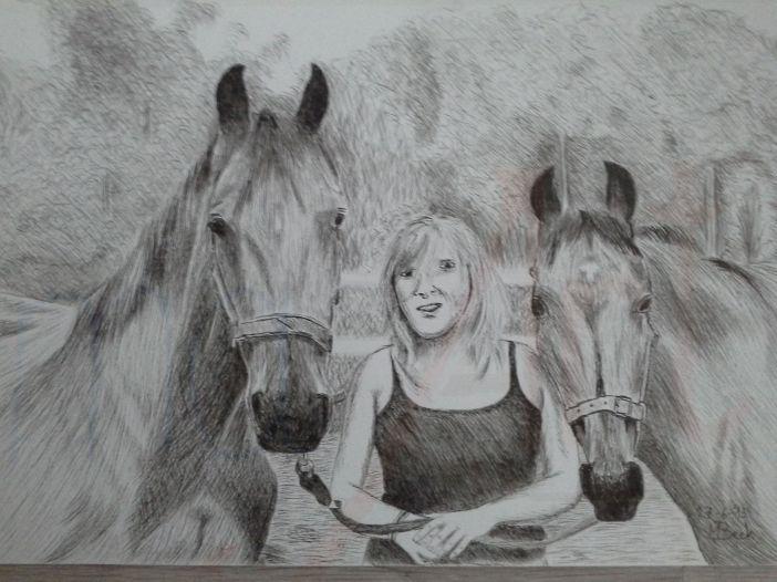 Pentekening meisje met 2 paarden_wm