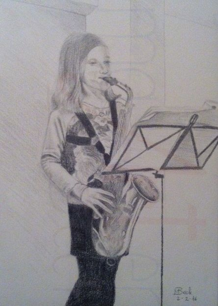 portret tekening meisje speelt muziek_wm