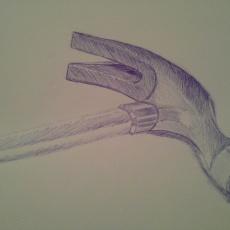 Pentekening in blauwe pen, gereedschap klauwhamer, voorbeeld dat ik laat zien wat ik zoal teken